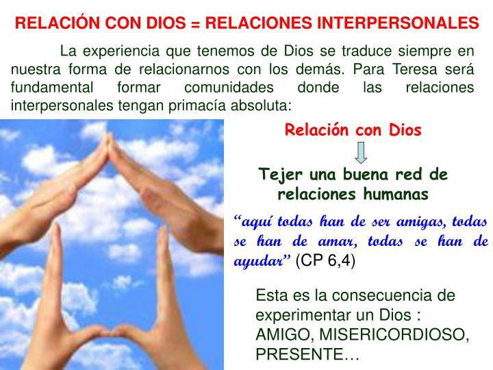 RELACIÓN CON DIOS = RELACIONES INTERPERSONALES