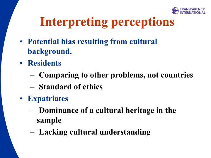 Interpreting perceptions