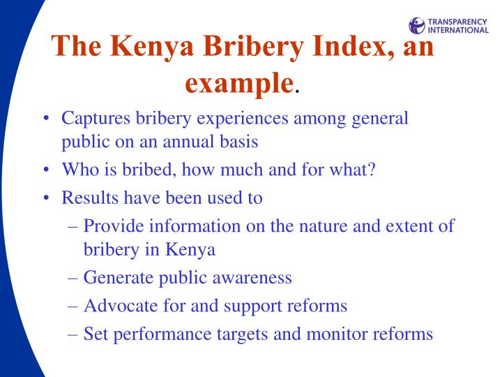 The Kenya Bribery Index, an example