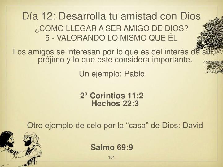 Día 12: Desarrolla tu amistad con Dios