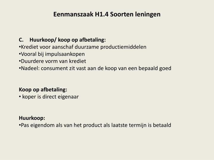 Eenmanszaak H1.4 Soorten leningen