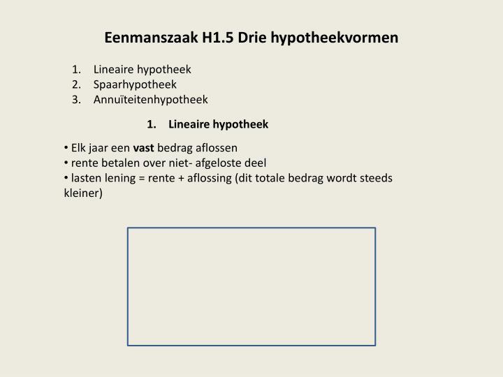 Eenmanszaak H1.5 Drie hypotheekvormen