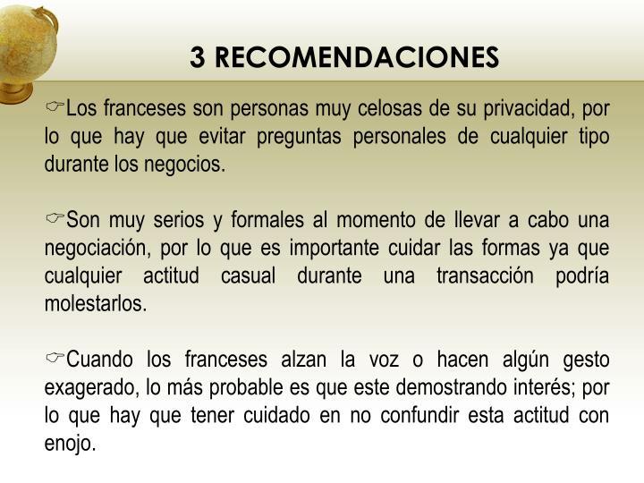 3 RECOMENDACIONES