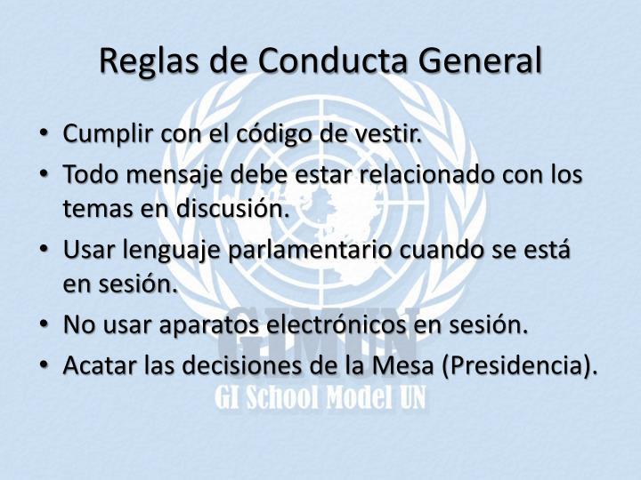 Reglas de Conducta General