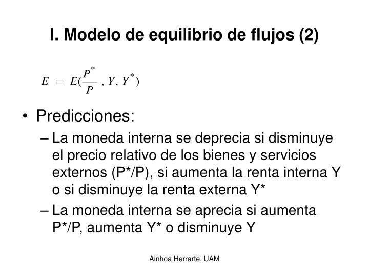 I. Modelo de equilibrio de flujos (2)