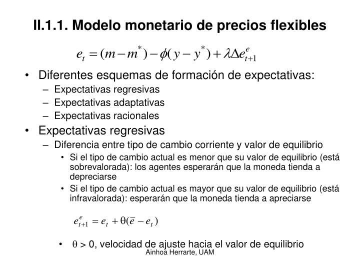 II.1.1. Modelo monetario de precios flexibles