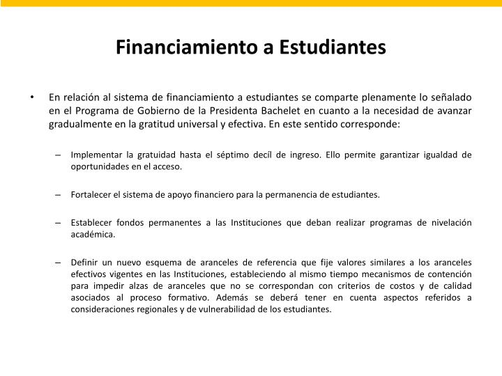 Financiamiento a Estudiantes