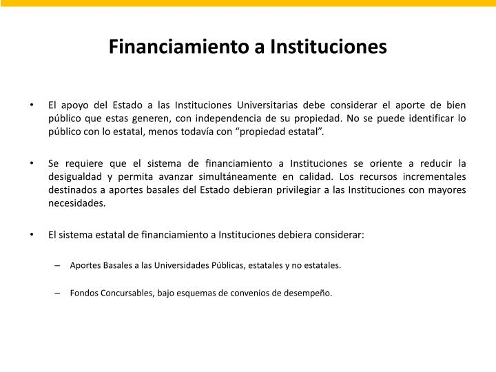 Financiamiento a Instituciones