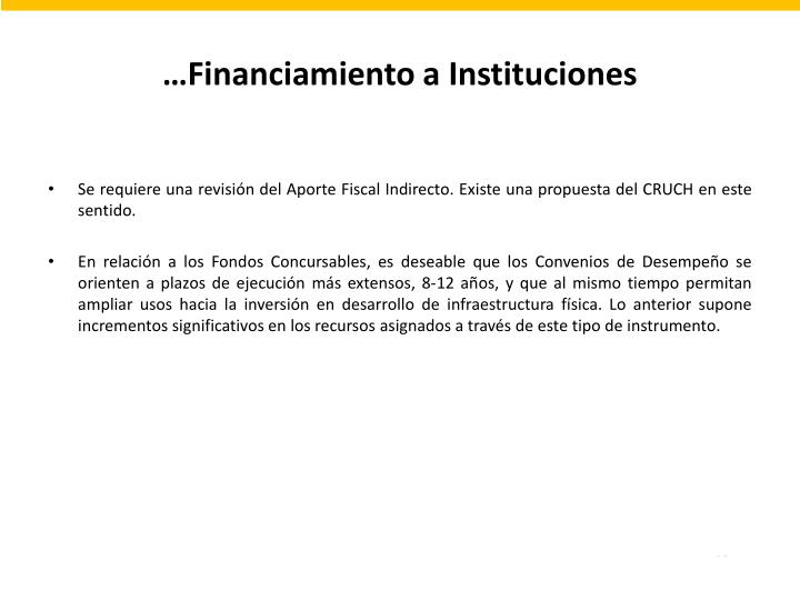 …Financiamiento a Instituciones