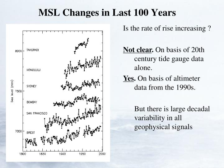 MSL Changes in Last 100 Years