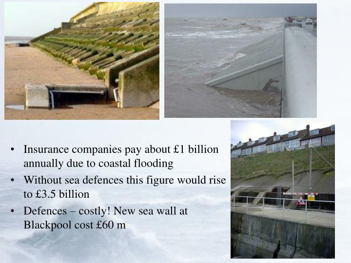 Insurance companies pay about £1 billion annually due to coastal flooding