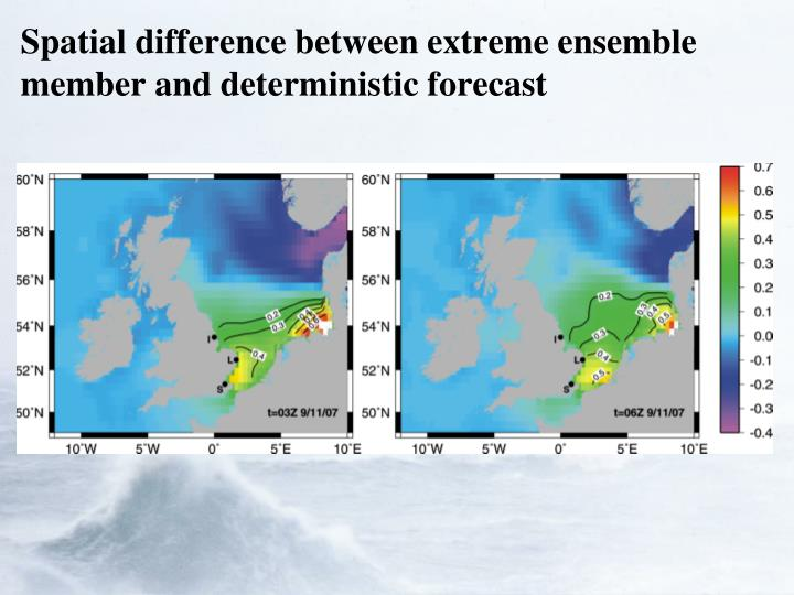 Spatial difference between extreme ensemble member and deterministic forecast
