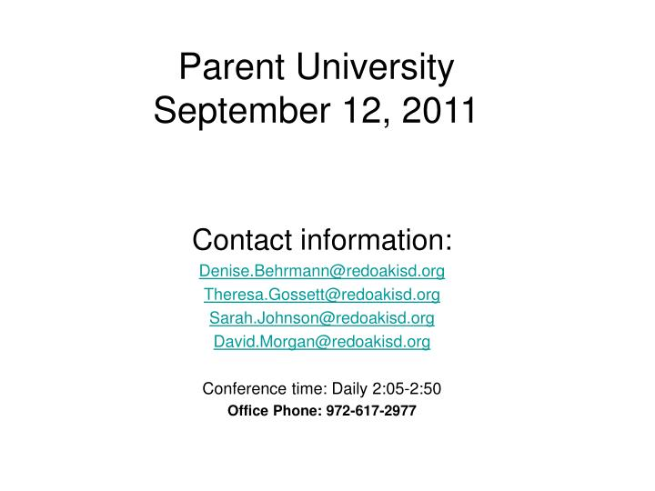 Parent university september 12 2011