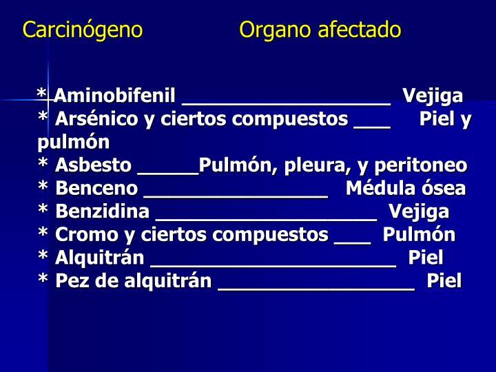 Carcinógeno              Organo afectado