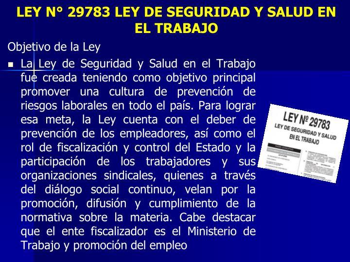 LEY N° 29783 LEY DE SEGURIDAD Y SALUD EN EL TRABAJO