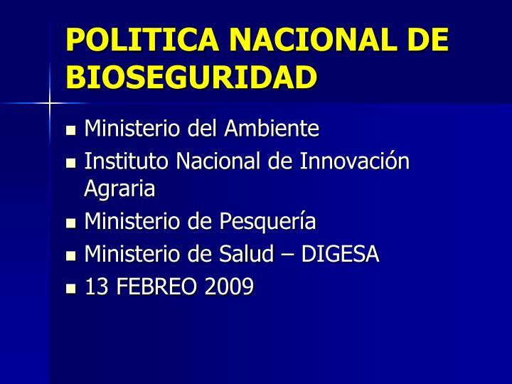 POLITICA NACIONAL DE BIOSEGURIDAD