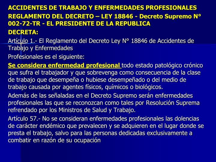 ACCIDENTES DE TRABAJO Y ENFERMEDADES PROFESIONALES