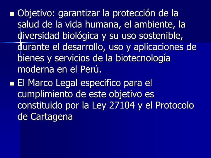 Objetivo: garantizar la protección de la salud de la vida humana, el ambiente, la diversidad biológica y su uso sostenible, durante el desarrollo, uso y aplicaciones de bienes y servicios de la biotecnología moderna en el Perú.