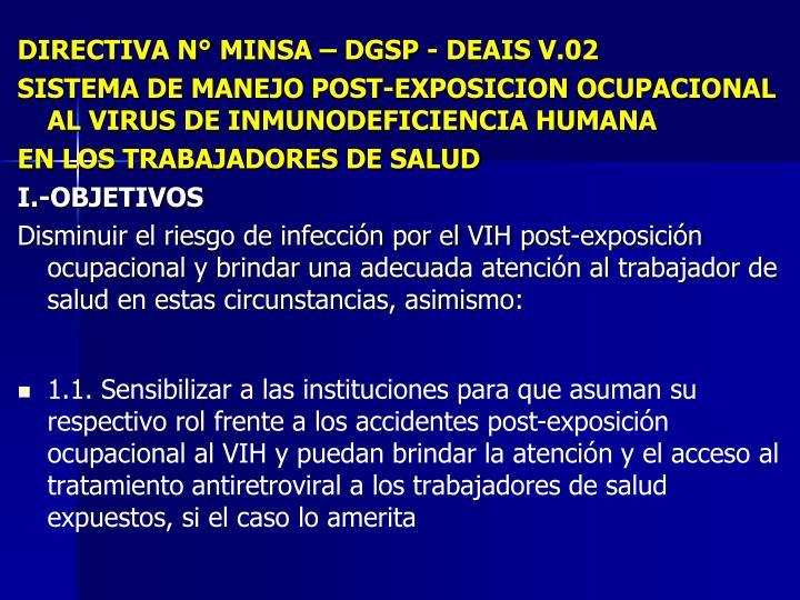 DIRECTIVA N° MINSA – DGSP - DEAIS V.02