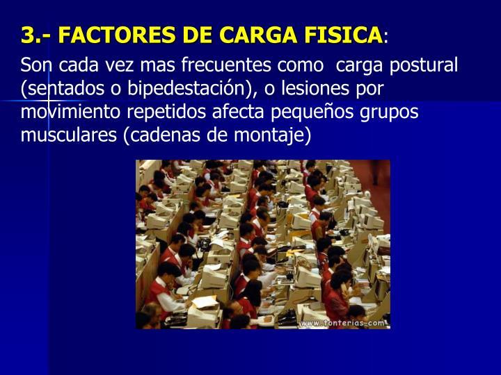3.- FACTORES DE CARGA FISICA
