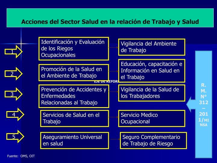 Acciones del Sector Salud en la relación de Trabajo y Salud