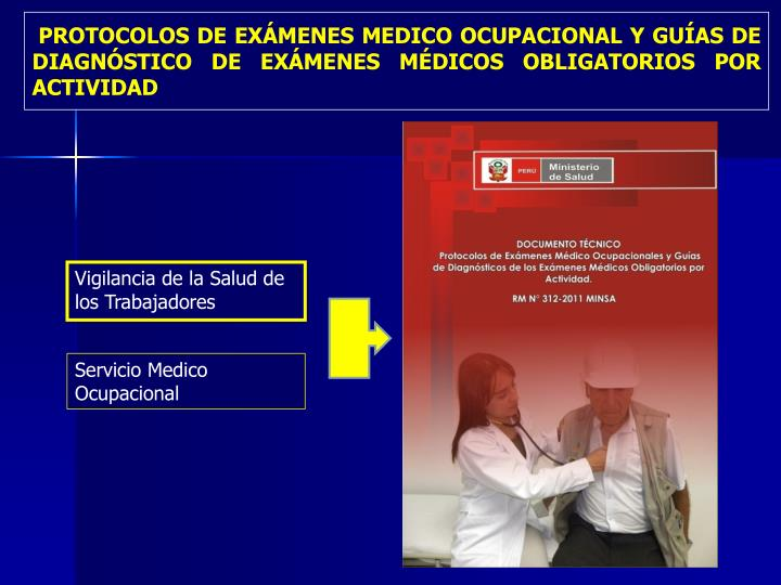 PROTOCOLOS DE EXÁMENES MEDICO OCUPACIONAL Y GUÍAS DE DIAGNÓSTICO DE EXÁMENES MÉDICOS OBLIGATORIOS POR ACTIVIDAD