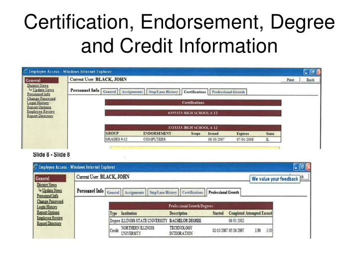 Certification, Endorsement, Degree and Credit Information