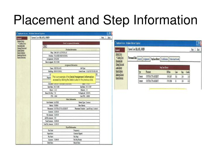 Placement and Step Information