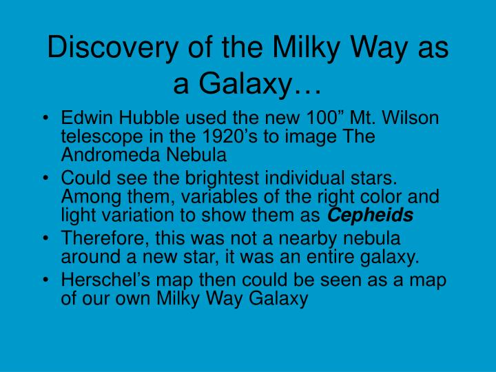 Discovery of the Milky Way as a Galaxy…