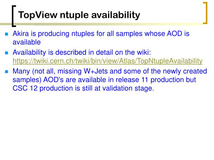 TopView ntuple availability