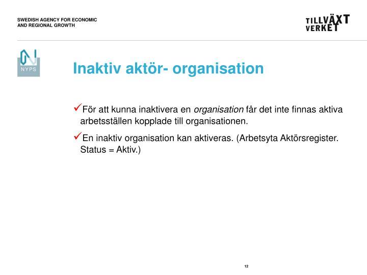 Inaktiv aktör- organisation