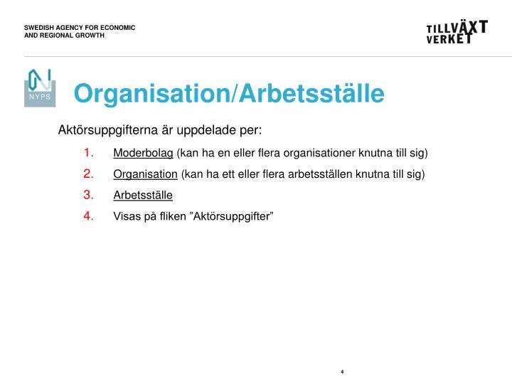 Organisation/Arbetsställe