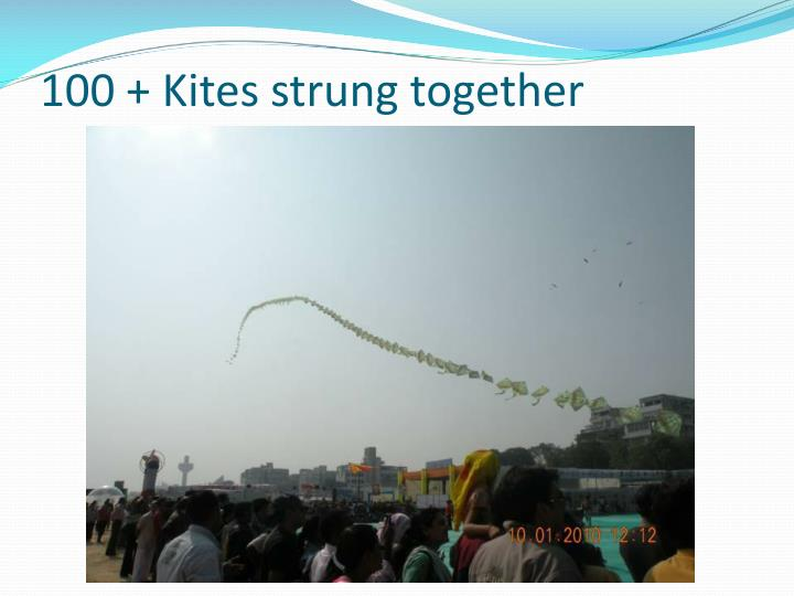 100 + Kites strung together