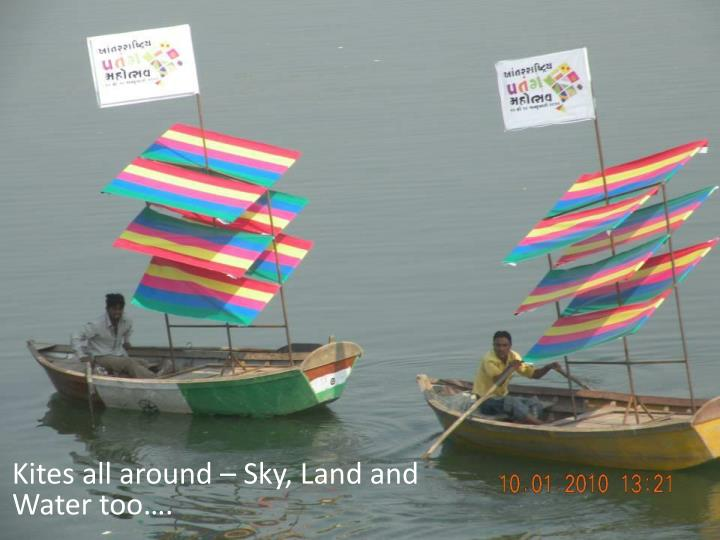 Kites all around – Sky, Land and Water too….