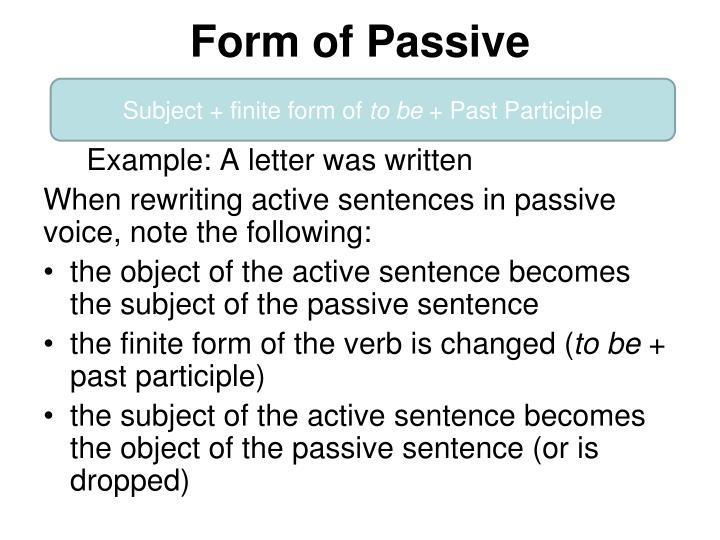 Form of Passive