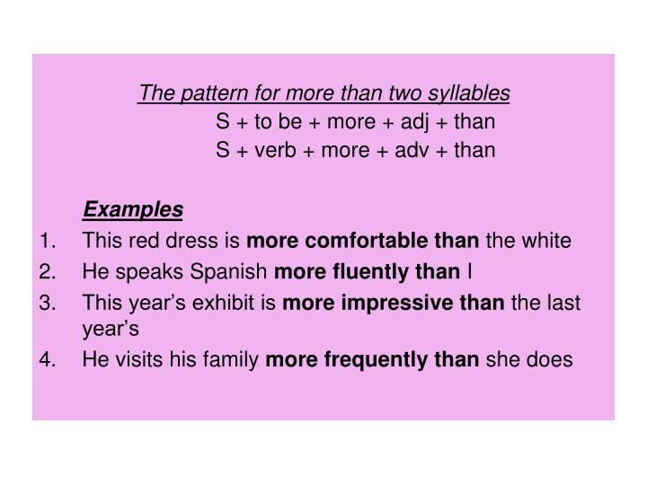 The pattern for more than two syllables