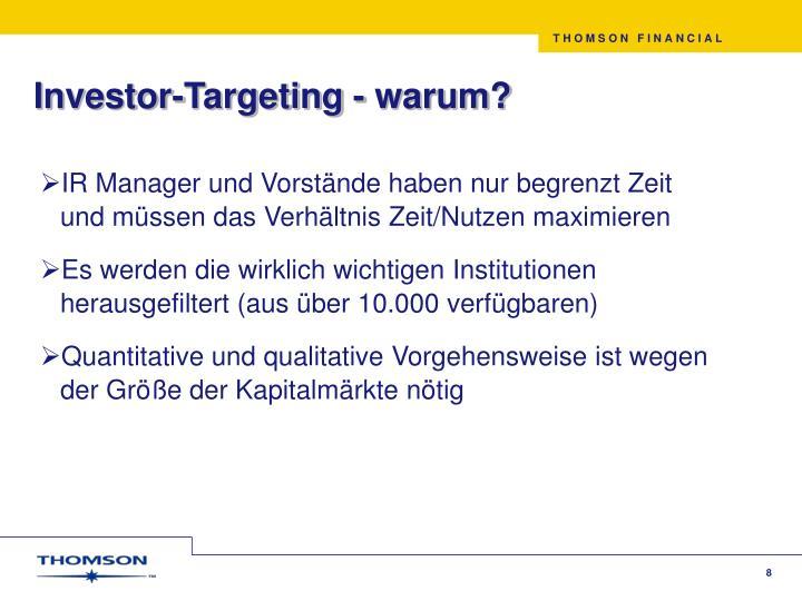 Investor-Targeting - warum?