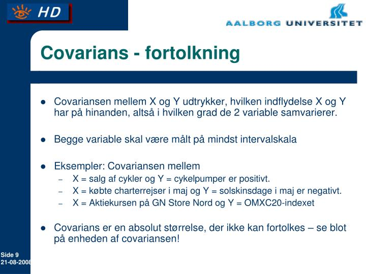 Covarians - fortolkning