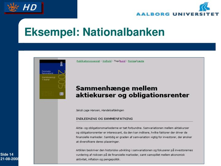 Eksempel: Nationalbanken