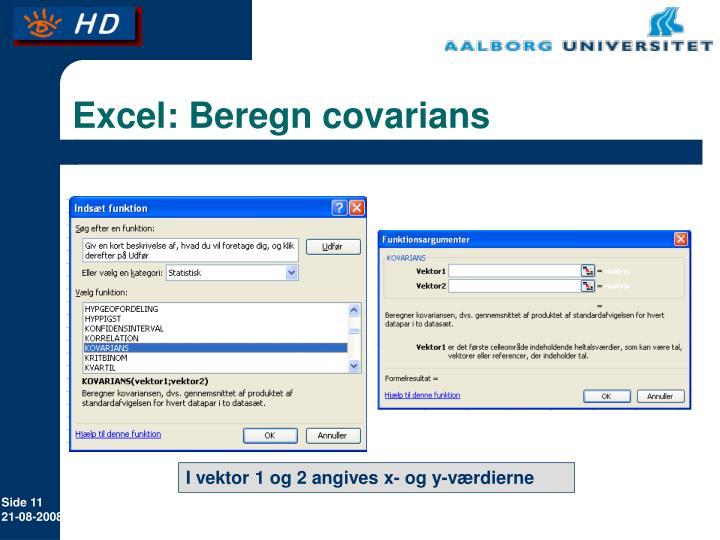 Excel: Beregn covarians