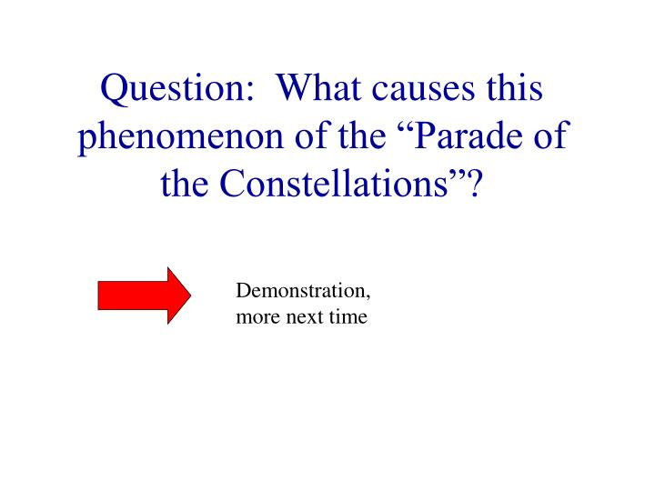 "Question:  What causes this phenomenon of the ""Parade of the Constellations""?"