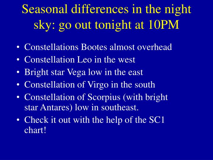 Seasonal differences in the night sky: go out tonight at 10PM