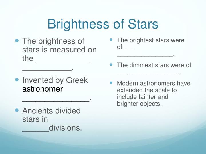 Brightness of Stars