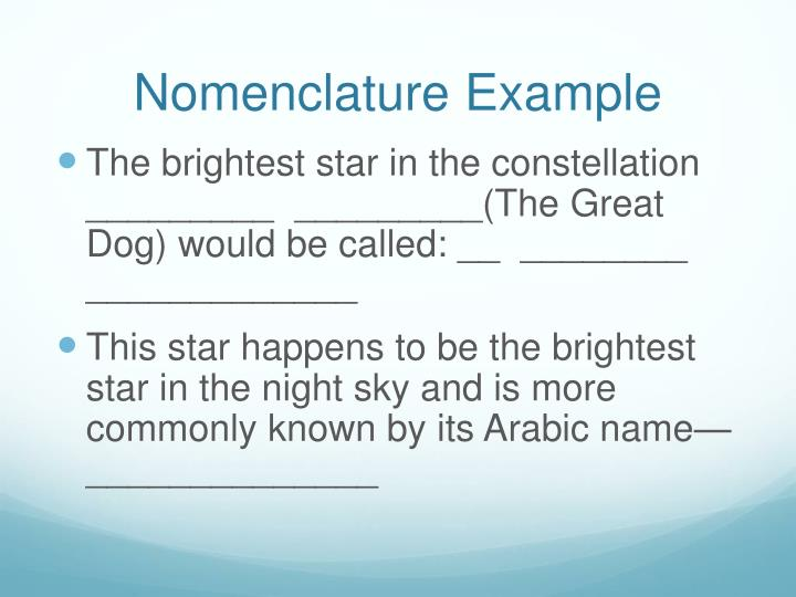 Nomenclature Example