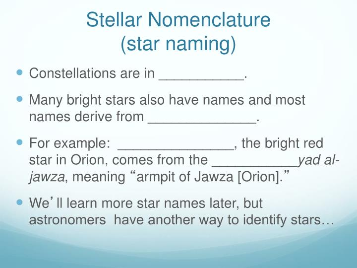 Stellar Nomenclature