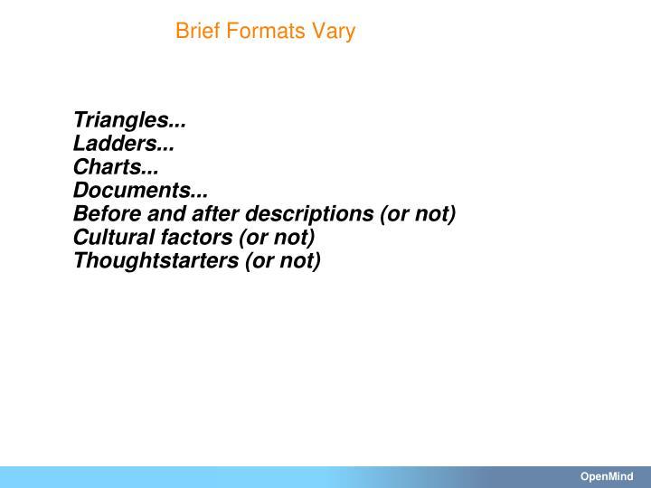 Brief Formats Vary