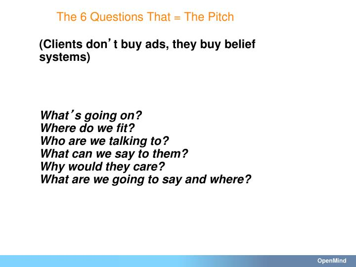 The 6 Questions That = The Pitch