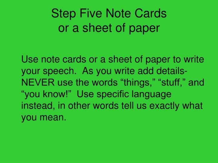Step Five Note Cards
