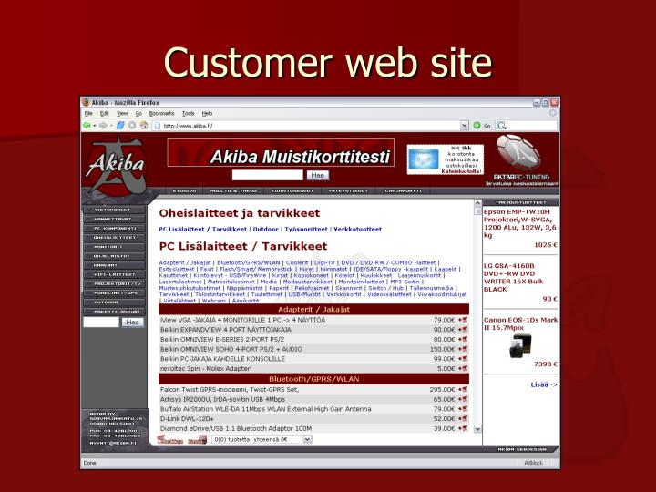 Customer web site