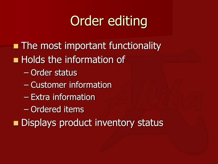 Order editing